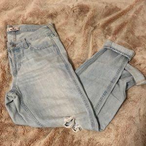 Light wash ripped boyfriend destroyed jeans